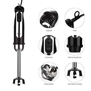 Aicok Immersion Hand Blender Mixer 5 Speed Smart Stick with Chopper & Whisk & Beaker Set, 350W, 4-in-1