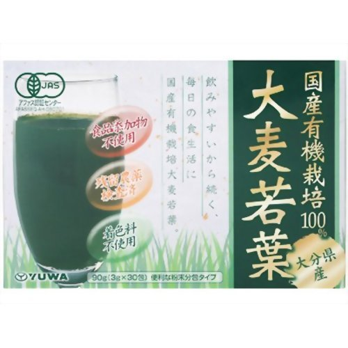 ユーワ 国産有機大麦若葉青汁100% 3g×30包