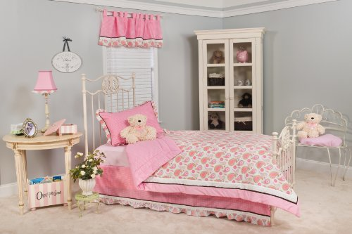 Pam Grace Creations Pam'S Paisley Queen Bedding Set, Pink, White, Green front-29444