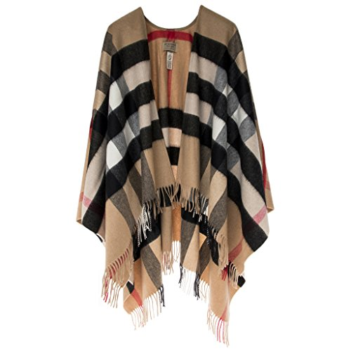 Burberry Women s Check Cashmere and Poncho Camel