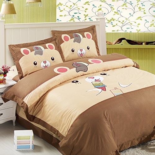 FADFAY Home Textile,Cute Kids Queen Size Cartoon Bedding Sets,Girls Fairy Bedding Sets,Butterfly Bedding Set Queen Size,4Pcs
