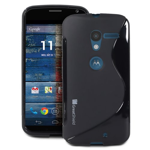 #!  GreatShield Guardian S Series Slim Fit Wave Design TPU Case for Motorola Moto X Phone (Black)