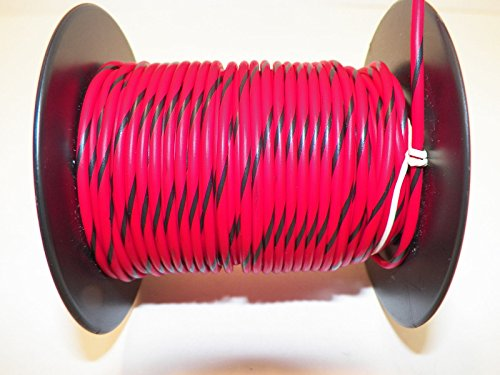 Red/Black Striped, 18 GA AWG GXL Wire, 100' Spool, For Automotive, Truck, Motorcycle, RV. General Purpose Copper Wire .94 O.D. Abrasion Resistance, High Heat (Wire Cart Electrical compare prices)