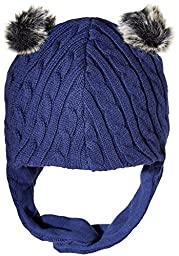 Magnificent Baby Baby Boys Magnetic Navy Cable Knit Aviator Cap, Blue, 6-12 Months