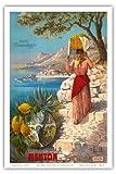 マントン、フランス - ザ・パールオブフランス - サン=ルイ橋 - マントン港付近でフルーツバスケットを持った女性 - プライム・サマテリーヌ・パリ - ビンテージな世界旅行のポスター によって作成された F. ヒューゴ・ダレジ c.1895 - アートポスター - 31cm x 46cm