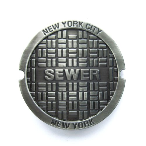 Hogar Mens Zinic Alloy Belt Buckle New York Sewer Buckles Color Antique Silver