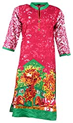 Fashion Web Women's Cotton Regular Fit Kurta (Multicolor, X-Large)
