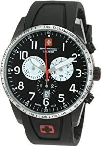 Swiss Military Calibre Men's 06-4R4-013-007.1 Red Star Black Dial Chronograph Rubber Date Watch