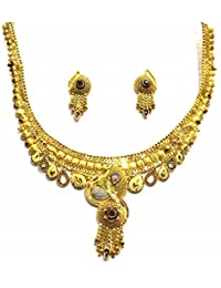 Shingar Jewellery Ksvk Jewels Antique Gold Plated Necklace Set (Bandhel) For Women (8917-g)