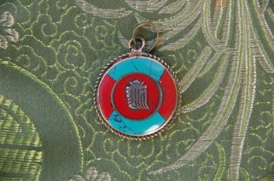 Handmade Turquoise Coral Kalachakra Pendant From Nepal
