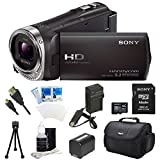 Sony HDR-CX440 HDR-CX440/B CX440 Full HD 60p Camcorder - Black Ultimate Bundle with 32GB High Speed Micro SD Card, Spare High Capacity Battery, AC/DC Charger, Table top Tripod, Padded Case, Micro HDMI Cable, LCD Screen Protectors, and Lens Cleaning Kit