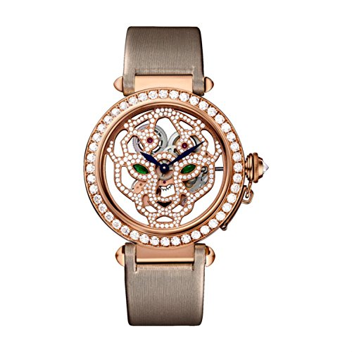 Cartier Women's Pasha De Cartier 42mm Cloth Band Rose Gold Plated Case Mechanical Analog Watch HPI00508