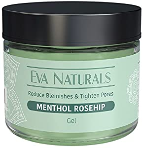 Menthol Rosehip Gel Mask by Eva Naturals - 2oz - Natural Rosehip and Peppermint Oil, Vitamin C - Organic Skin Care Facial Gel Mask Moisturizer for Anti-Aging -Collagen, Prevents Wrinkles & Fine Lines