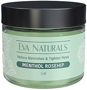 Menthol Rosehip Gel Mask by Eva Naturals - 2oz - Natural Rosehip and Peppermint Oil, Vitamin C - Organic Skin Care Facial Gel Mask Moisturizer for Anti-Aging -Collagen, Prevents Wrinkles & Fine Lines