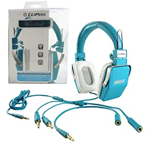 CLiPtec Ozone Professional Audio Deep Base Adjustable and Foldable Multimedia Stereo Headphones with Inline Mic for Gaming/Chat/Music - Blue