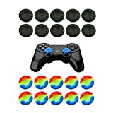 ARICHEZO Thumb Grip Stick Cover For PS4 PS3 PS2 XBOX 360 ONE WII - Case Skin Joystick Controller - Pack of 20 pcs (10 Black + 10 Multicolor) Set # 13