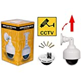 Indoor Outdoor dummy security camera with blinking light, Nettohome's (white) dummy dome security surveillance camera is perfect for home and business with tinted screen so lens is hidden and dome provides 360 surveillance, No visible brand label for added security and cameras come with free security sticker, guaranteed