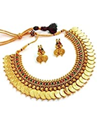 MUCH MORE Red And Green Gold Plated Choker Necklace With Earrings Set For Women