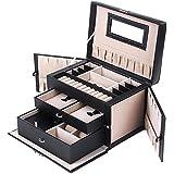 Songmics Black Leather Jewelry Box w/ Travel Case and Lock Storage Case Organizer UJBC121B