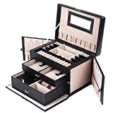 SONGMICS Black Leather Jewelry Box Watch Storage Organizer w/ Lock Mirror and Mini Travel Case UJBC121B