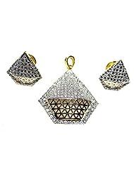 Poddar Jewels Cubic Zirconia Sliver Pendant Set - B00TKU6QF4