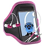 iTALKonline Samsung Galaxy Trend Plus S7580 BABY PINK BLACK Sports GYM Jogging ArmBand Arm Band Case Cover with 3.5mm Aluminium Headphones Handsfree Mic and On/Off Switch