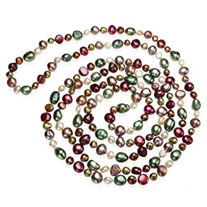 64 Multicolor Dyed Sumptuous Baroque 4 9mm Freshwater Cultured Pearl Strand Necklace