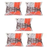 MeSleep Digitally Printed City 5 Piece Cushion Cover Set - Red And Brown