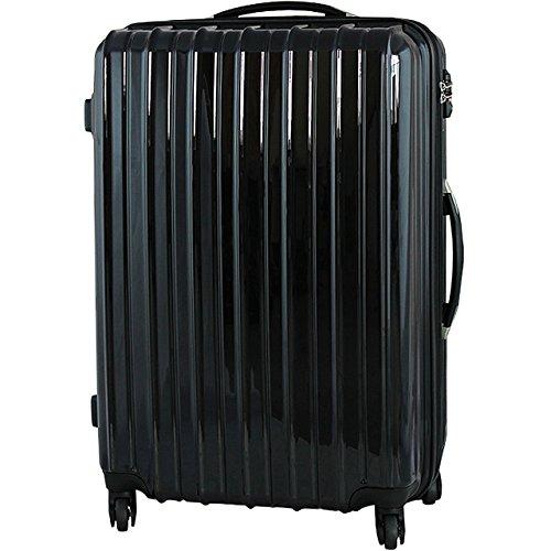 (PORTA)6255 ダブルジップスーツケース Mサイズ  中型 TSAロック (BLACK)