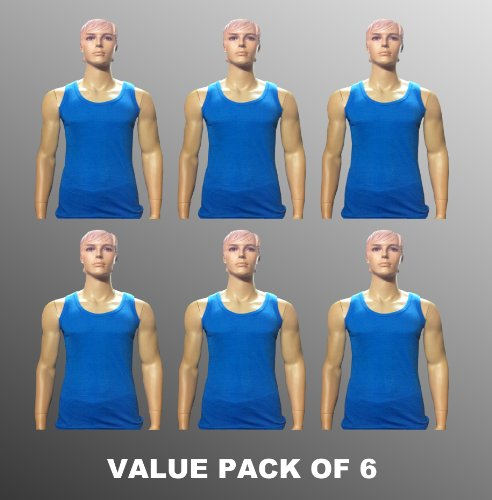 Value Pack Of 6 Thermal Underwear Sleeveless Vest Blue, Various Sizes