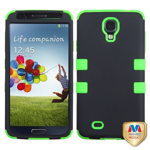 Fits Samsung I337 I9500 Galaxy S 4 Hard Plastic Snap On Cover Rubberized Black Electric Green Tuff Hybrid At&T