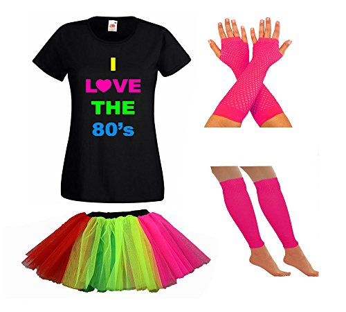 I Love the Eighties Fancy Dress Costume Set for Women