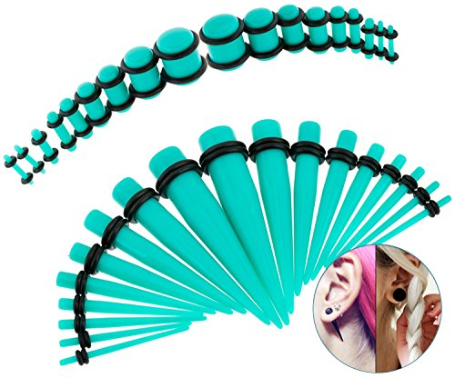 36pcs Tapers and Plugs With O Rings / Piercings Stretchers / Expanders Kit / Set / Lot With Different Gauges / Sizes for Ears / Earlobes Stretching (4g Pearl Plugs compare prices)