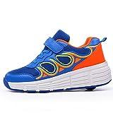 SDSPEED Kids Roller Skate Shoes with Single Wheel Shoes Sport Sneaker LED and Non-LED (Color: Blue Orange, Tamaño: 3 M US Little Kid)