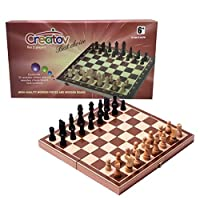Chess Board Set, Deluxe Folding Tournament Game Board with Storage Bags and Genuine Intricately Carved Stained Wood Pieces, Great for Travel By Creatov®