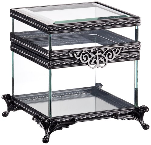 Two Tier Clear Glass And Black Jewelry Box front-968666