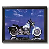 Harley Davidson Heritage Motorcycle Home Decor Wall Picture Black Framed Art Print