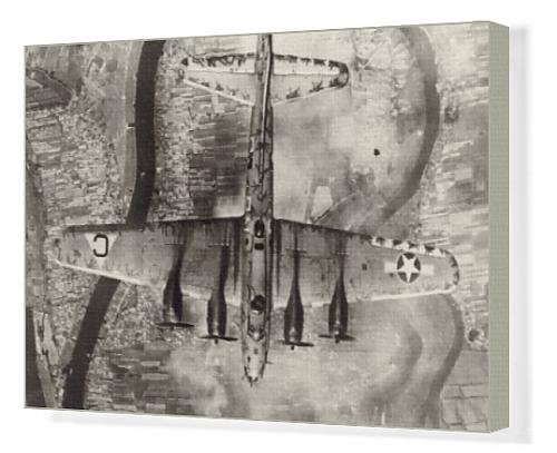 Canvas Artwork of Boeing B-17 Flying Fortress from above