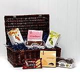 Traditional Tea & Biscuits Gift Hamper in Luxury Brown Wicker Basket