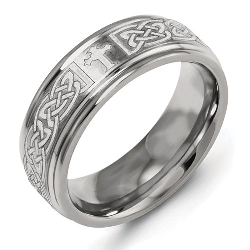 8Mm Brushed & High Polished Finish Ridged Edge Laser Engraved Celtic Weave Cross Titanium Wedding Band - Size 13