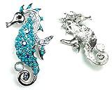 Blue Color Austrian Rhinestone & Beads Sea Horse Design Silver-Tone Brooch Pin