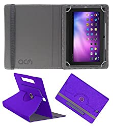 Acm Designer Rotating Leather Flip Case For Vizio Q88 Tablet Cover Stand Purple