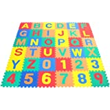 """Non-Toxic Alphabet Letters & Counting Numbers (A-Z, 0-9) Non-Recycled Quality Soft Foam Learning Waterproof Playmats - Each Tile: 12"""" X 12"""" X ~9/16"""" Extra Thick"""