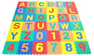 """Non-Toxic Alphabet Letters & Counting Numbers (A-Z, 0-9) Non-Recycled Quality Soft Foam Playmats - Each Tile: 12"""" X 12"""" X ~9/16"""" Extra Thick"""