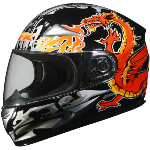 AFX Dragon Men's FX-90 Street Racing Motorcycle Helmet - Color: Black, Size: X-Large