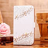 Locaa(TM) For Samsung Galaxy S3 Mini I8190 3D Bling Cases Deluxe Luxury Crystal Pearl Diamond Rhinestone eye-catching Beautiful Leather Retro Support bumper Cover Card Holder Wallet Case - [General series] flower in clusters