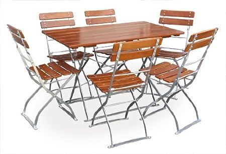 EuroLiving - Set di mobili da giardino con 1 tavolo 120 x 70 cm e 6 sedie, edizione Classic, colore: ocra/zincato