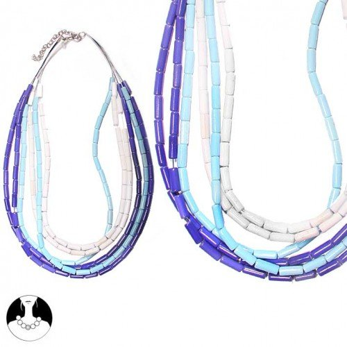 SG Paris Necklace 6 Rows 48 cm+Ext Multi Blue Bleu Combinaison Necklace Necklace Glass Summer Women Bollywood Fashion Jewelry / Hair Accessories Z Others