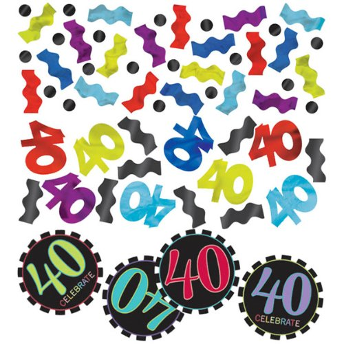 Amscan Exciting Colorful Confetti in 40th Celebration Theme, Red/Violet/Cyan Blue/Blue/Yellow, 1.2 oz