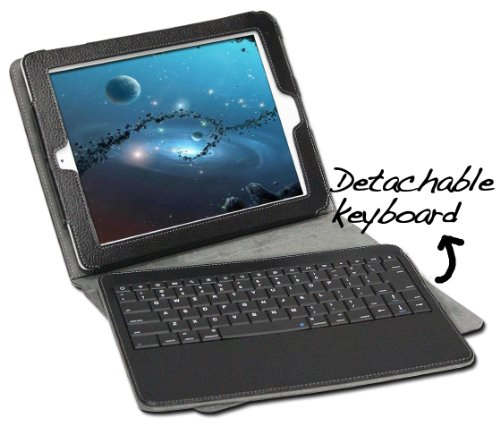 GreatShield 2!GO Detachable Wireless Bluetooth Keyboard Leather Case for iPad 2 2nd Gen 3G and Wifi Model with Stand (Black)